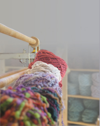 Custom-dyed cotten chenille in Gretel Underwood's weaving studio