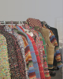 Hand-woven cotten chenille, southwestern jackets and vests by Gretel Underwood.