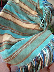"Bolivian Stripe weave throw in ""Waterfall""Bolivian Stripe weave throw in ""Waterfall"""